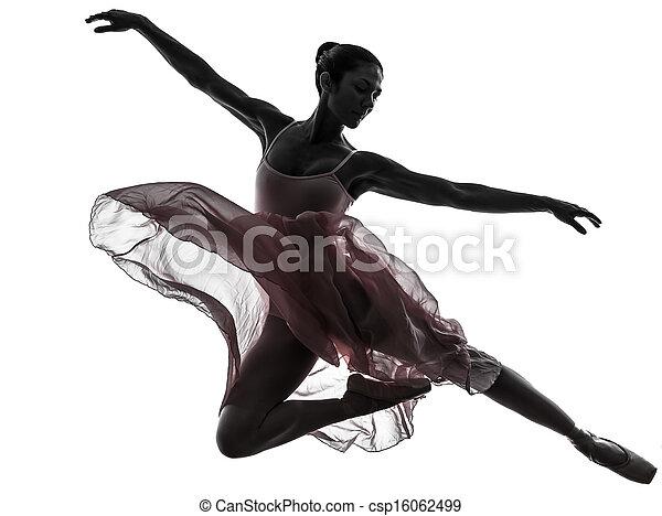 tänzer, ballett, silhouette, tanzen, frau, ballerina - csp16062499