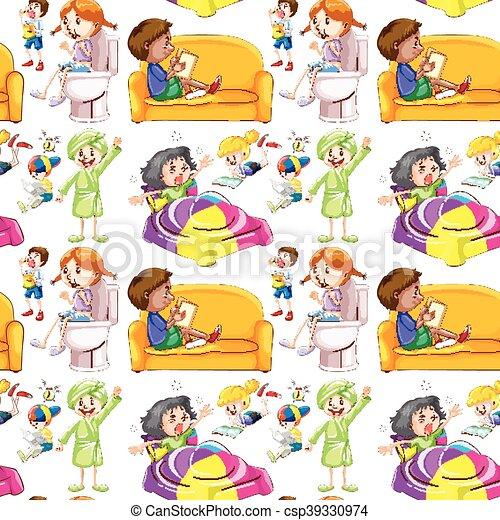 t tigkeiten kinder seamless hintergrund viele t tigkeiten kinder viele seamless. Black Bedroom Furniture Sets. Home Design Ideas
