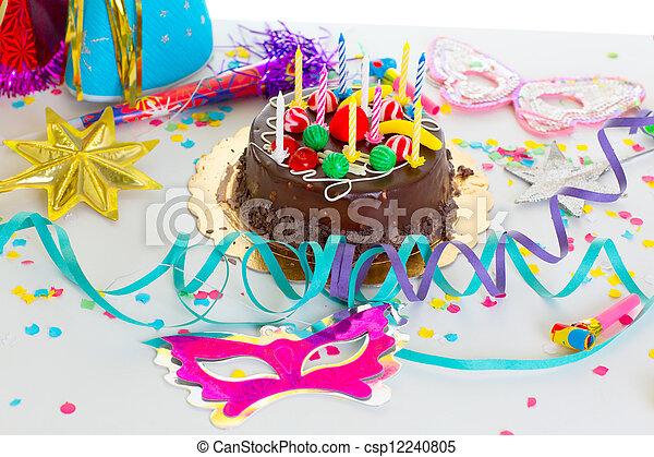 Tårta Parti Födelsedag Barn Choklad Girland Choklad Bakelse