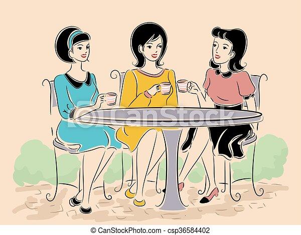 Las chicas hacen el té al aire libre - csp36584402