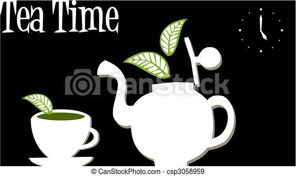 Hora del té: tetera y taza de té - csp3058959