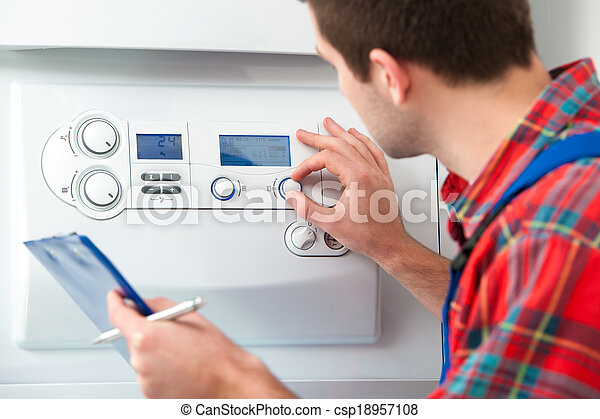 Técnica servicial caldera de calefacción - csp18957108