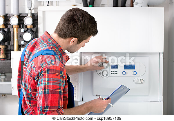 Técnica servicial caldera de calefacción - csp18957109