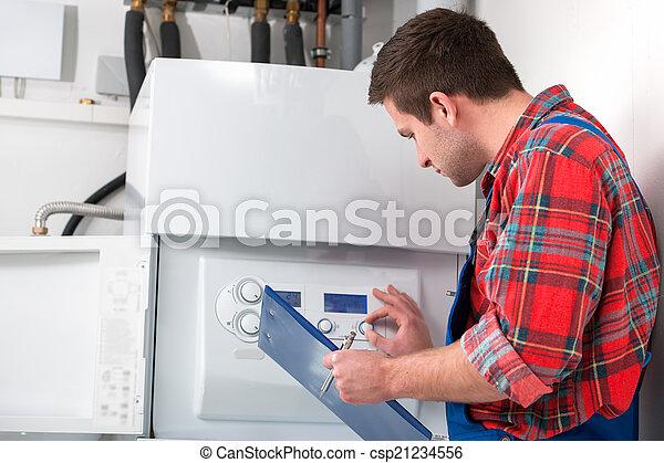 técnico, calefacción, caldera, mantenimiento - csp21234556