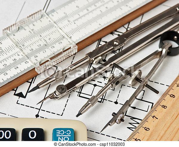 técnico, ingeniería, herramientas, dibujo - csp11032003