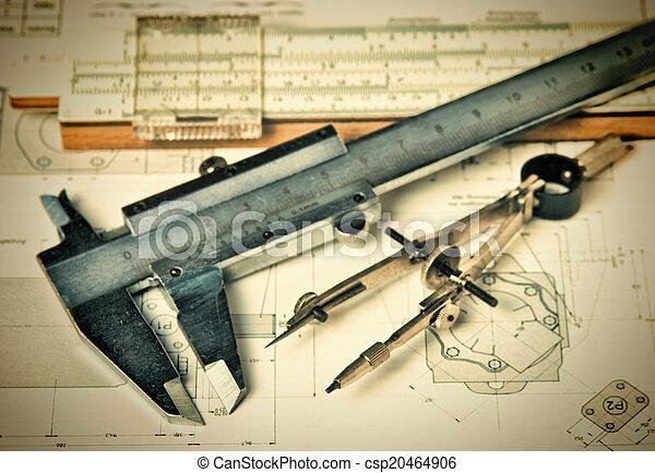 técnico, ingeniería, herramientas, dibujo - csp20464906