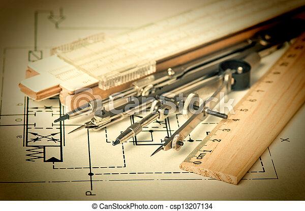 técnico, ingeniería, herramientas, dibujo - csp13207134