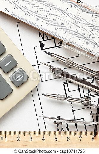 técnico, ingeniería, herramientas, dibujo - csp10711725