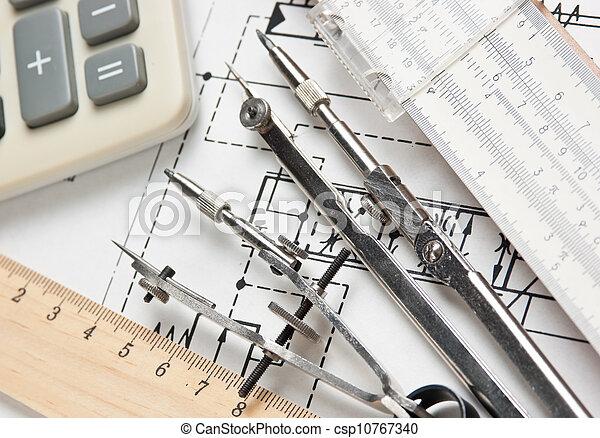 técnico, ingeniería, herramientas, dibujo - csp10767340