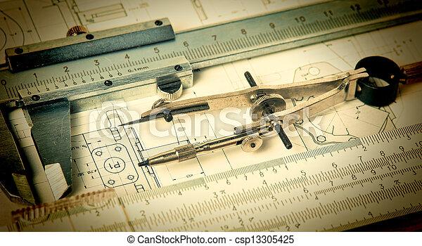 técnico, ingeniería, herramientas, dibujo - csp13305425