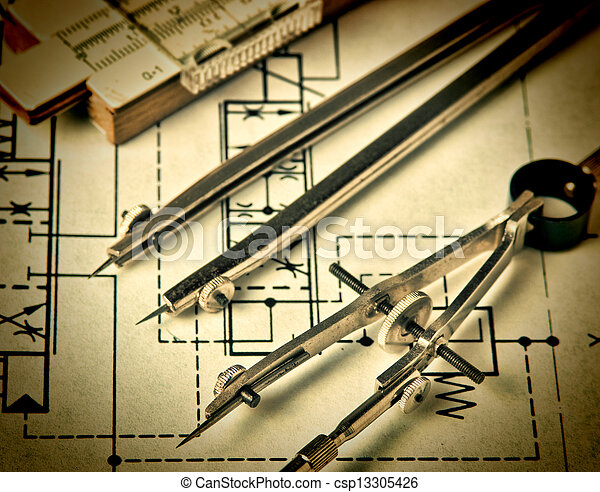 técnico, ingeniería, herramientas, dibujo - csp13305426