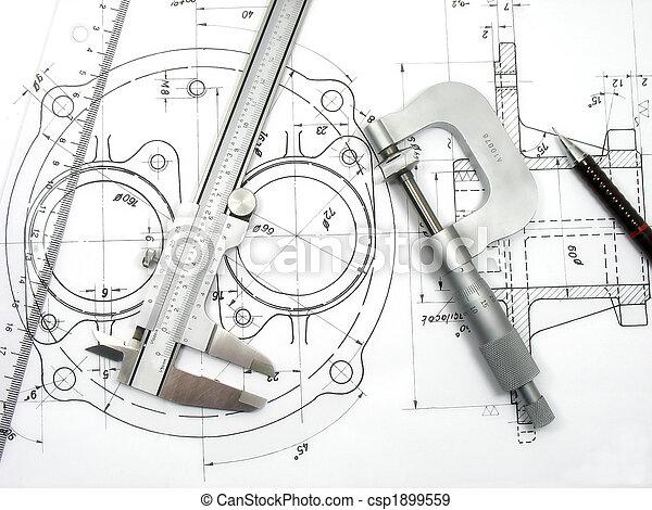 técnico, ingeniería, herramientas, dibujo - csp1899559