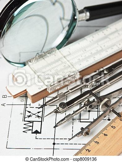 técnico, ingeniería, herramientas, dibujo - csp8009136