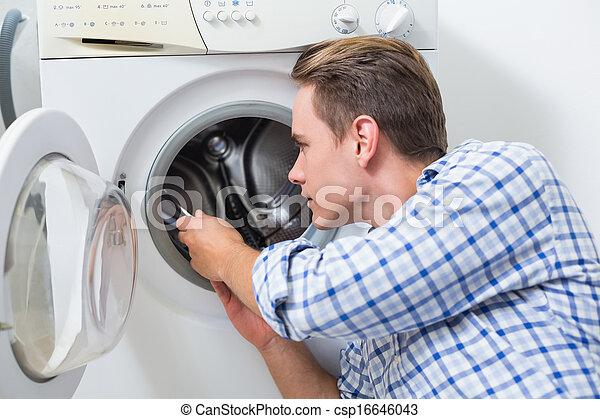 técnico, reparación, máquina, lavado - csp16646043