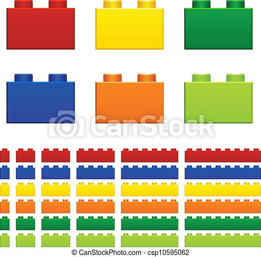 téglák, játékszer, gyerekek, vektor, műanyag - csp10595062