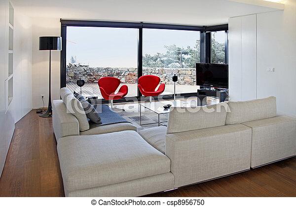 télé vivre, salle moderne, équipement - csp8956750