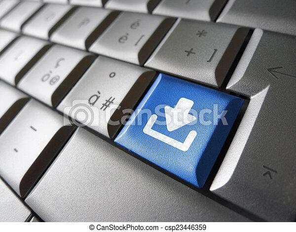 téléchargement, bouton, clã©, internet - csp23446359