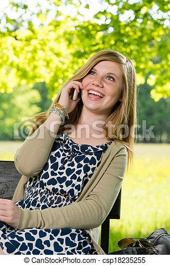 téléphone, adolescent, rire, girl, conversation - csp18235255