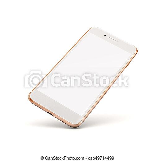téléphone, blanc, intelligent, fond, 3d - csp49714499