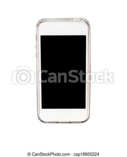 téléphone, blanc, intelligent, isolé, fond - csp18600224