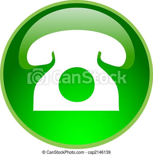 téléphone, bouton, vert - csp2146139