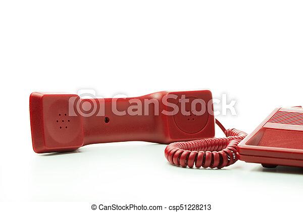 Téléphone bureau rouge isolé téléphone fond bureau blanc rouge