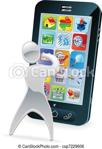 téléphone, concept, caractère, dessin animé, métallique - csp7229606