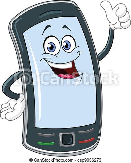 téléphone, dessin animé, intelligent - csp9036273