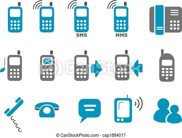 téléphone, ensemble, icône - csp1884017
