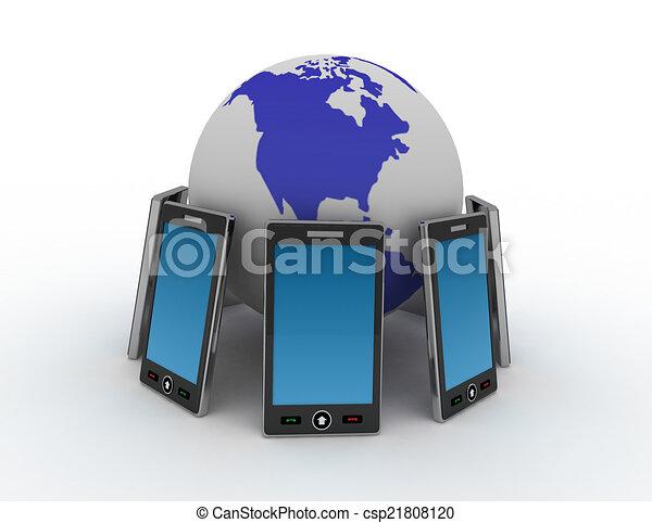 téléphone, fond blanc - csp21808120
