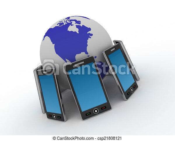 téléphone, fond blanc - csp21808121