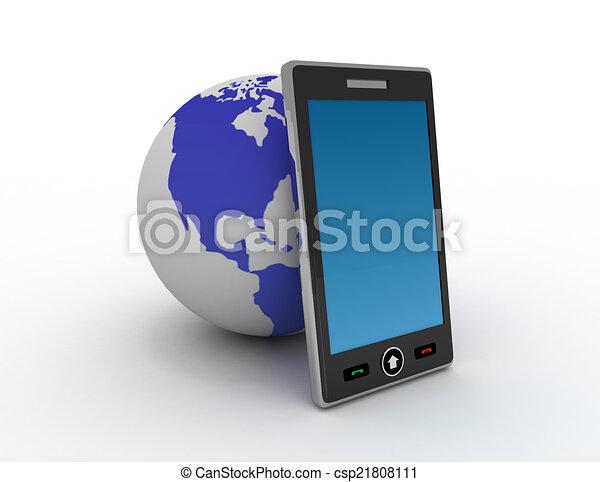 téléphone, fond blanc - csp21808111