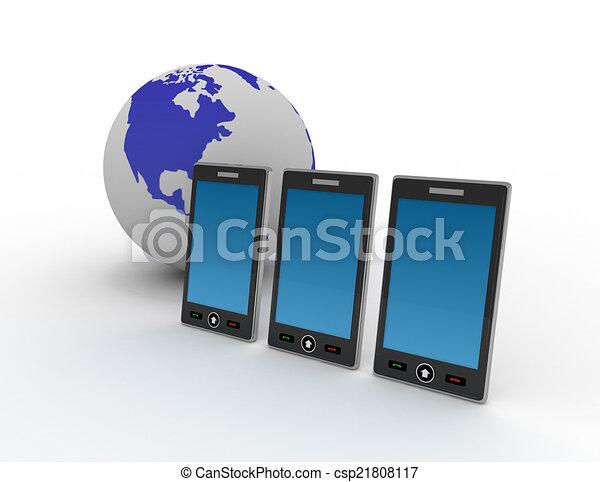 téléphone, fond blanc - csp21808117