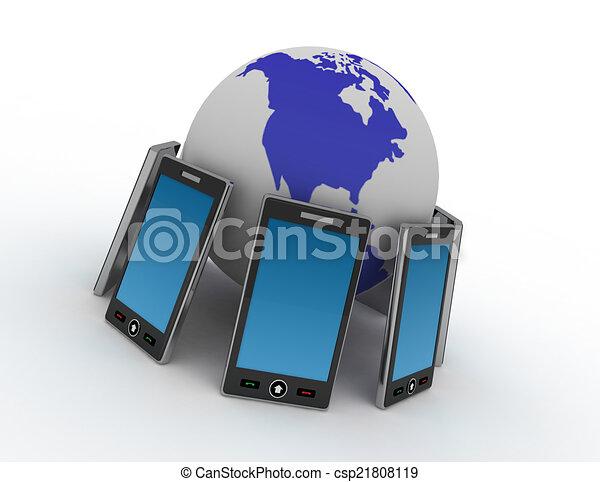 téléphone, fond blanc - csp21808119