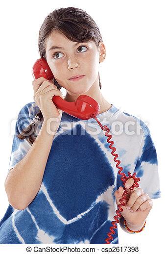 téléphone, girl - csp2617398