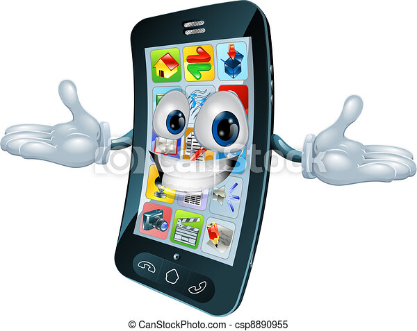 Telephone Homme Mobile Mobile Caractere Illustration Telephone Mascotte Dessin Anime Canstock