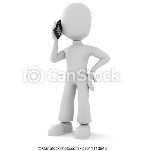 téléphone, homme parler, 3d - csp11118943