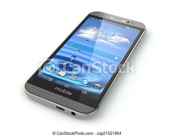 téléphone, mobile, isolé, arrière-plan., blanc, smartphone - csp21521954