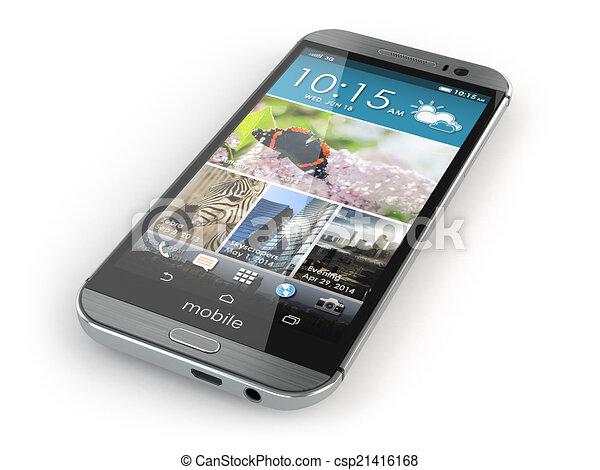 téléphone, mobile, isolé, arrière-plan., blanc, smartphone - csp21416168