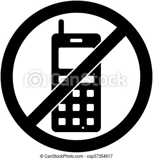 Téléphone Non Téléphone Symbole Interdit Vector