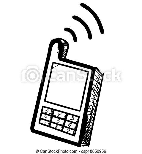 téléphone portable, école, vieux, icône - csp18850956
