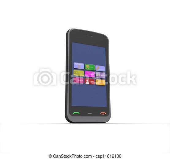 téléphone portable, arrière-plan noir, blanc, 3d - csp11612100