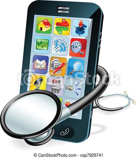téléphone portable, concept, contrôle santé - csp7929741