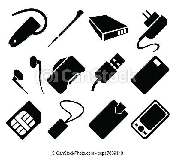 t l phone portable ensemble accessoires ic ne vecteur eps rechercher des clip art. Black Bedroom Furniture Sets. Home Design Ideas