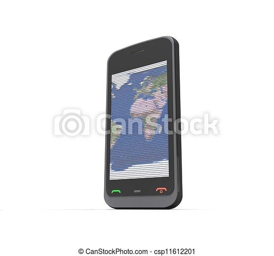 téléphone portable, fond blanc, 3d - csp11612201