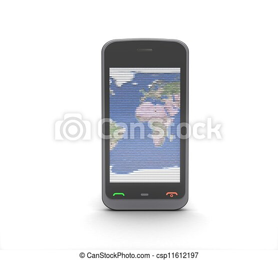 téléphone portable, fond blanc, 3d - csp11612197
