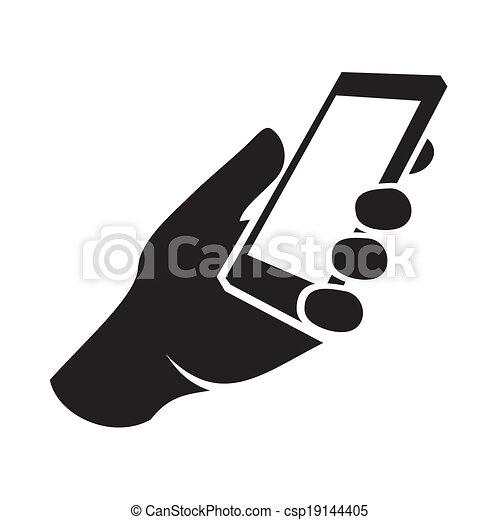 téléphone portable, icon., vecteur, main - csp19144405