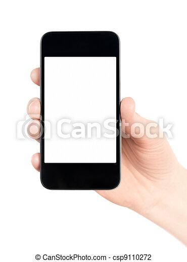téléphone portable, isolé, intelligent, main - csp9110272