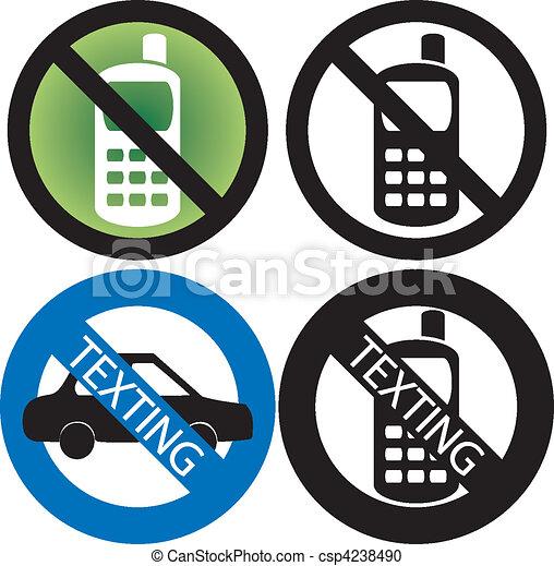 téléphone portable, non, signe - csp4238490