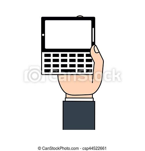 téléphone portable, texting, main - csp44522661